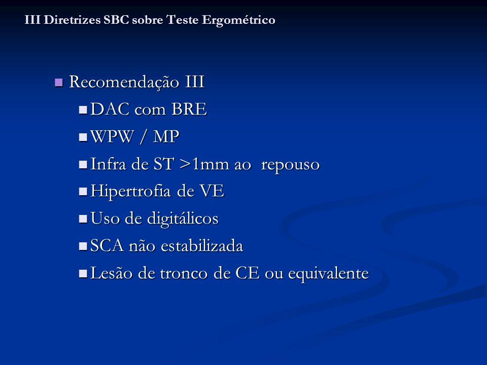 Critérios de mau prognóstico Critérios de mau prognóstico Capacidade funcional abaixo dos 5 METs Capacidade funcional abaixo dos 5 METs PAS que não atinge 120 mmHg PAS que não atinge 120 mmHg Infra ST descendente >2mm por mais de 5 minutos Infra ST descendente >2mm por mais de 5 minutos Queda de PAS > 10mmHg, ou valores abaixo do repouso Queda de PAS > 10mmHg, ou valores abaixo do repouso TV sustentada ( >30 seg) sintomática TV sustentada ( >30 seg) sintomática III Diretrizes SBC sobre Teste Ergométrico