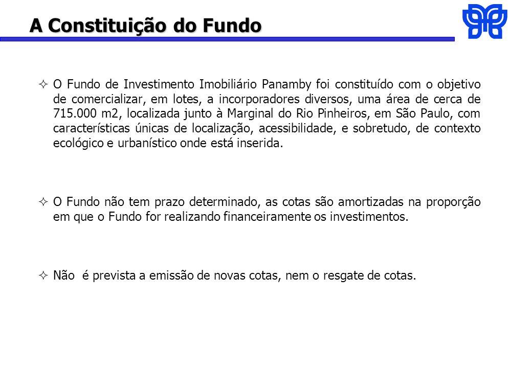 A Constituição do Fundo O Fundo de Investimento Imobiliário Panamby foi constituído com o objetivo de comercializar, em lotes, a incorporadores diversos, uma área de cerca de 715.000 m2, localizada junto à Marginal do Rio Pinheiros, em São Paulo, com características únicas de localização, acessibilidade, e sobretudo, de contexto ecológico e urbanístico onde está inserida.