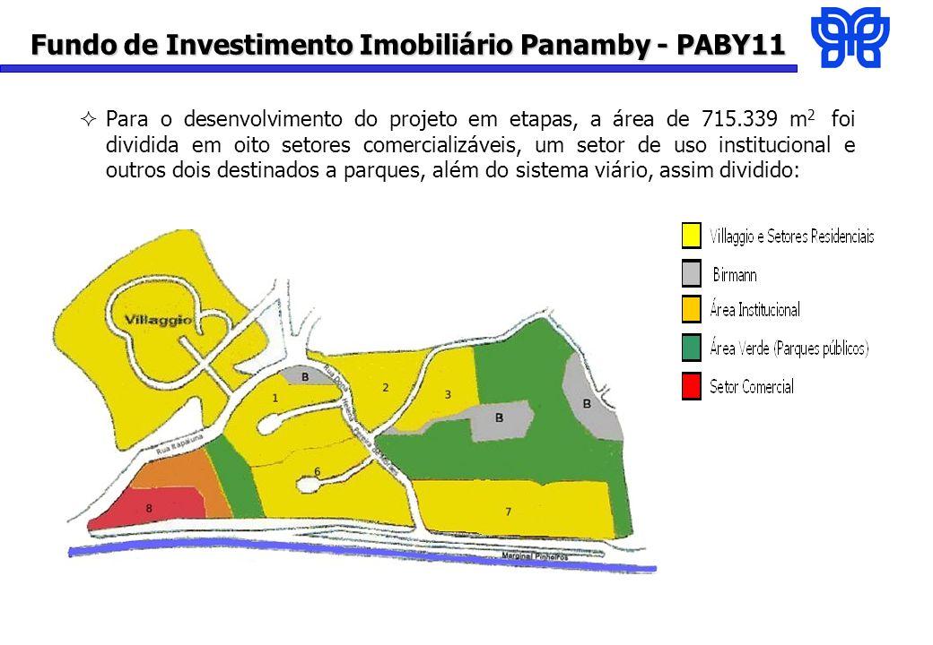 Fundo de Investimento Imobiliário Panamby - PABY11 Para o desenvolvimento do projeto em etapas, a área de 715.339 m 2 foi dividida em oito setores comercializáveis, um setor de uso institucional e outros dois destinados a parques, além do sistema viário, assim dividido: