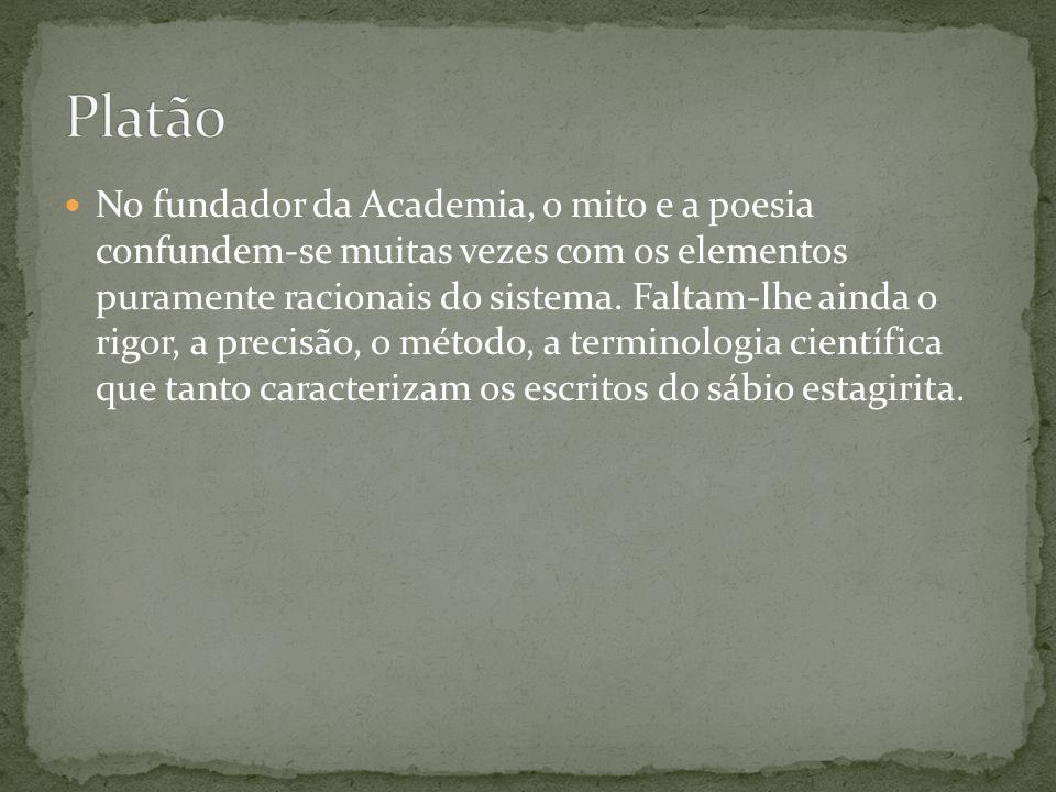 No fundador da Academia, o mito e a poesia confundem-se muitas vezes com os elementos puramente racionais do sistema. Faltam-lhe ainda o rigor, a prec