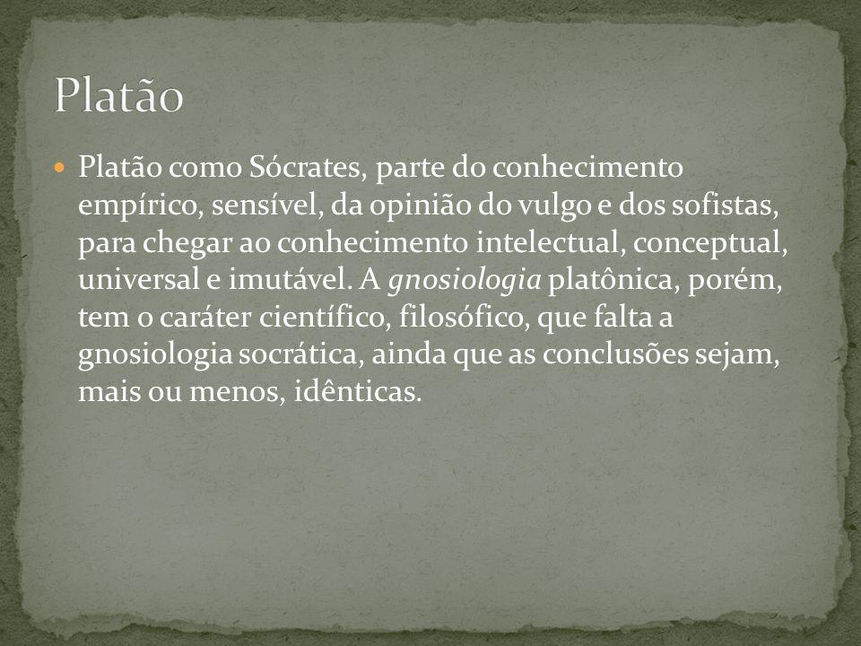 Platão como Sócrates, parte do conhecimento empírico, sensível, da opinião do vulgo e dos sofistas, para chegar ao conhecimento intelectual, conceptua