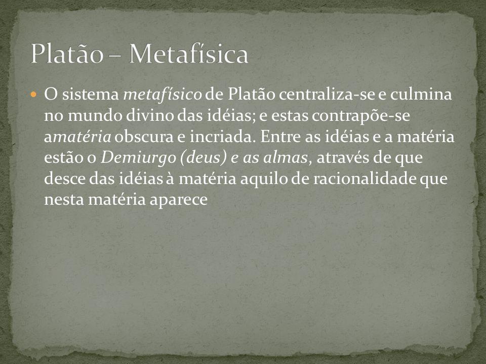 O sistema metafísico de Platão centraliza-se e culmina no mundo divino das idéias; e estas contrapõe-se amatéria obscura e incriada. Entre as idéias e