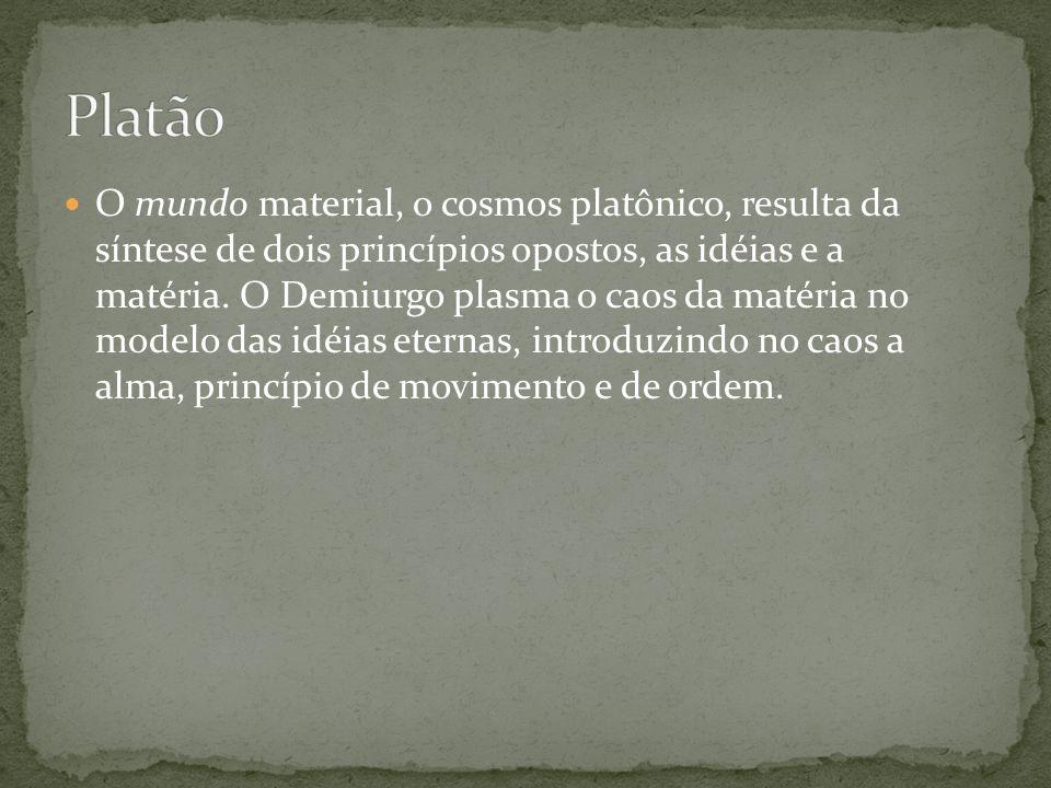 O mundo material, o cosmos platônico, resulta da síntese de dois princípios opostos, as idéias e a matéria. O Demiurgo plasma o caos da matéria no mod