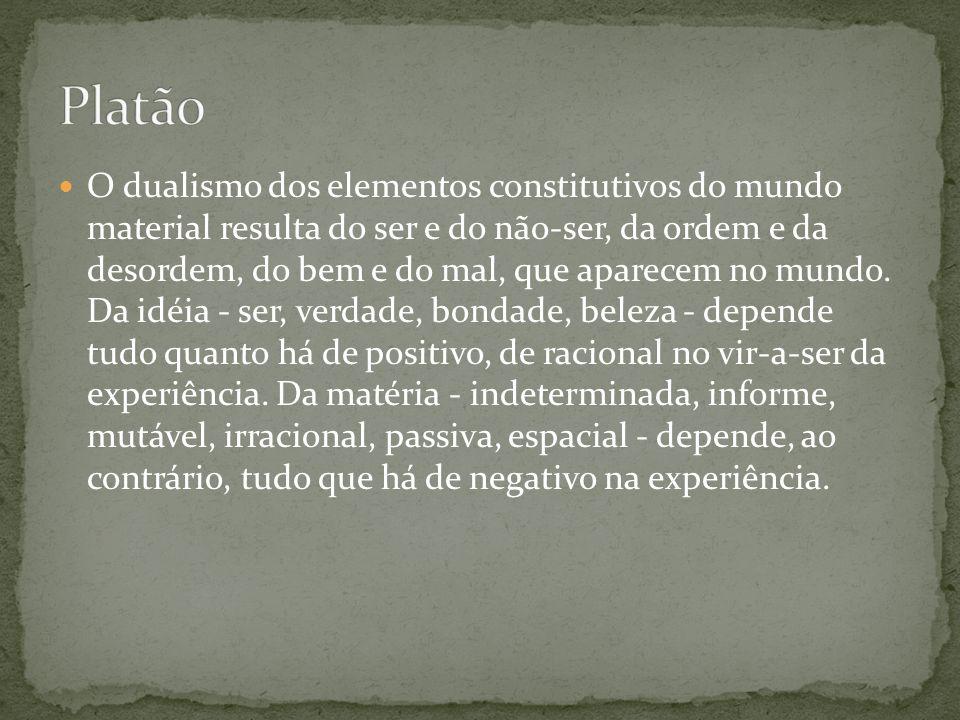 O dualismo dos elementos constitutivos do mundo material resulta do ser e do não-ser, da ordem e da desordem, do bem e do mal, que aparecem no mundo.