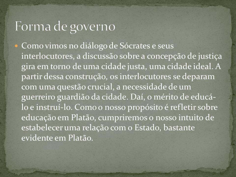 Como vimos no diálogo de Sócrates e seus interlocutores, a discussão sobre a concepção de justiça gira em torno de uma cidade justa, uma cidade ideal.