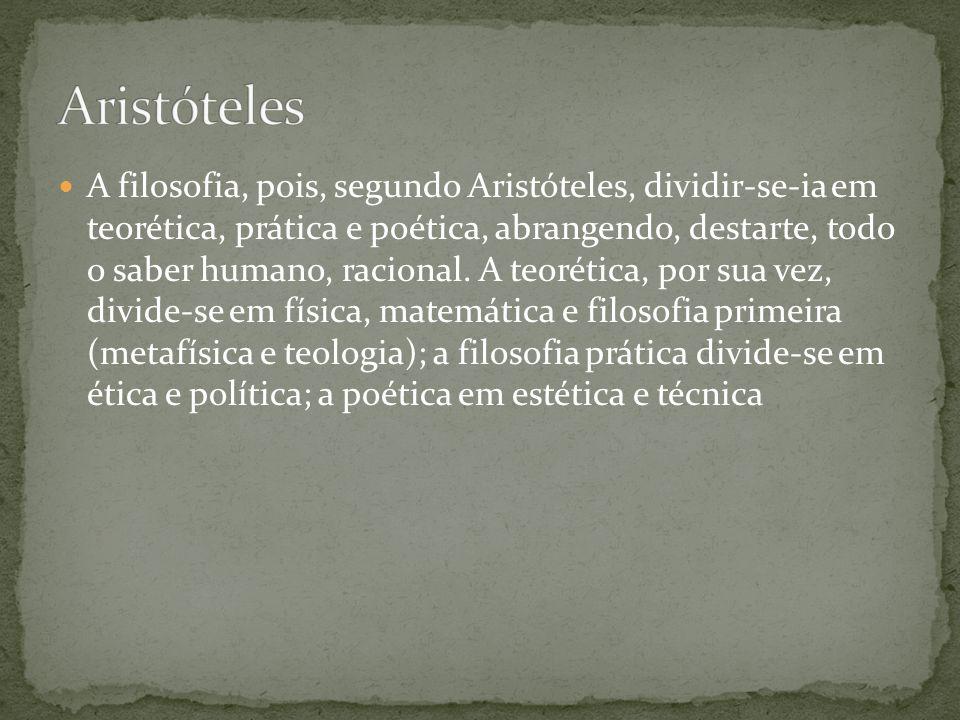 A filosofia, pois, segundo Aristóteles, dividir-se-ia em teorética, prática e poética, abrangendo, destarte, todo o saber humano, racional. A teorétic