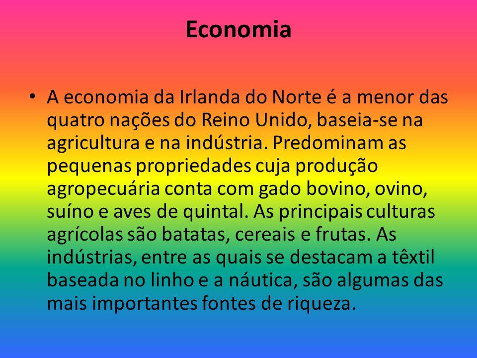 Economia A economia da Irlanda do Norte é a menor das quatro nações do Reino Unido, baseia-se na agricultura e na indústria.