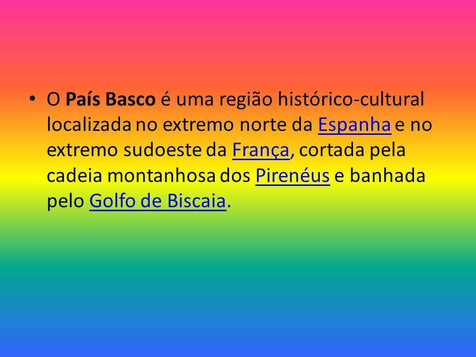 O País Basco é uma região histórico-cultural localizada no extremo norte da Espanha e no extremo sudoeste da França, cortada pela cadeia montanhosa dos Pirenéus e banhada pelo Golfo de Biscaia.EspanhaFrançaPirenéusGolfo de Biscaia