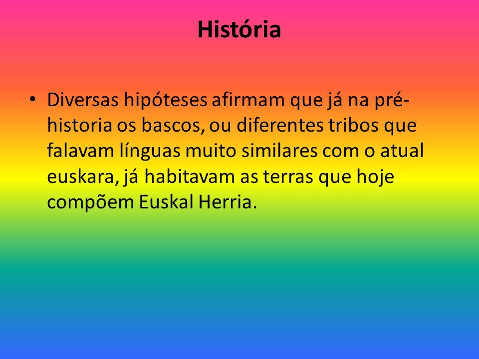 História Diversas hipóteses afirmam que já na pré- historia os bascos, ou diferentes tribos que falavam línguas muito similares com o atual euskara, já habitavam as terras que hoje compõem Euskal Herria.