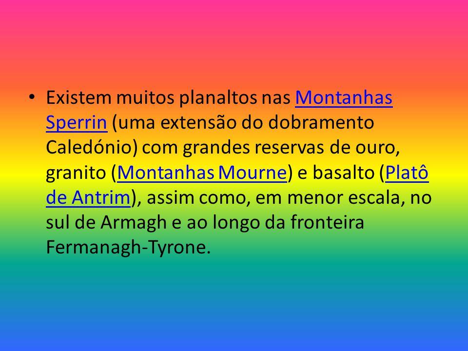 Existem muitos planaltos nas Montanhas Sperrin (uma extensão do dobramento Caledónio) com grandes reservas de ouro, granito (Montanhas Mourne) e basalto (Platô de Antrim), assim como, em menor escala, no sul de Armagh e ao longo da fronteira Fermanagh-Tyrone.Montanhas SperrinMontanhas MournePlatô de Antrim
