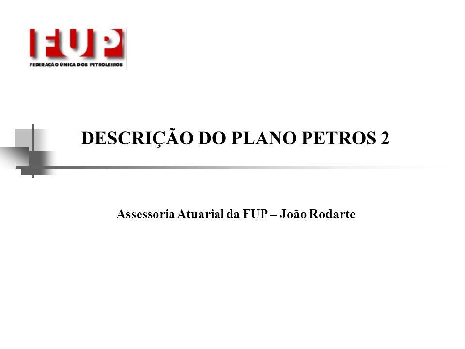 DESCRIÇÃO DO PLANO PETROS-2 VRP VRP – Valor de Referência do Plano, correspondente a R$ 157,67, posicionado em junho de 2005.