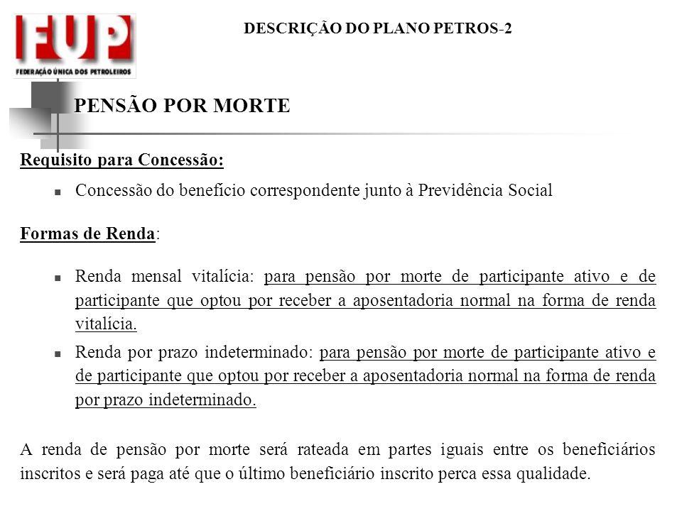 DESCRIÇÃO DO PLANO PETROS-2 PENSÃO POR MORTE Requisito para Concessão: Concessão do benefício correspondente junto à Previdência Social Formas de Rend