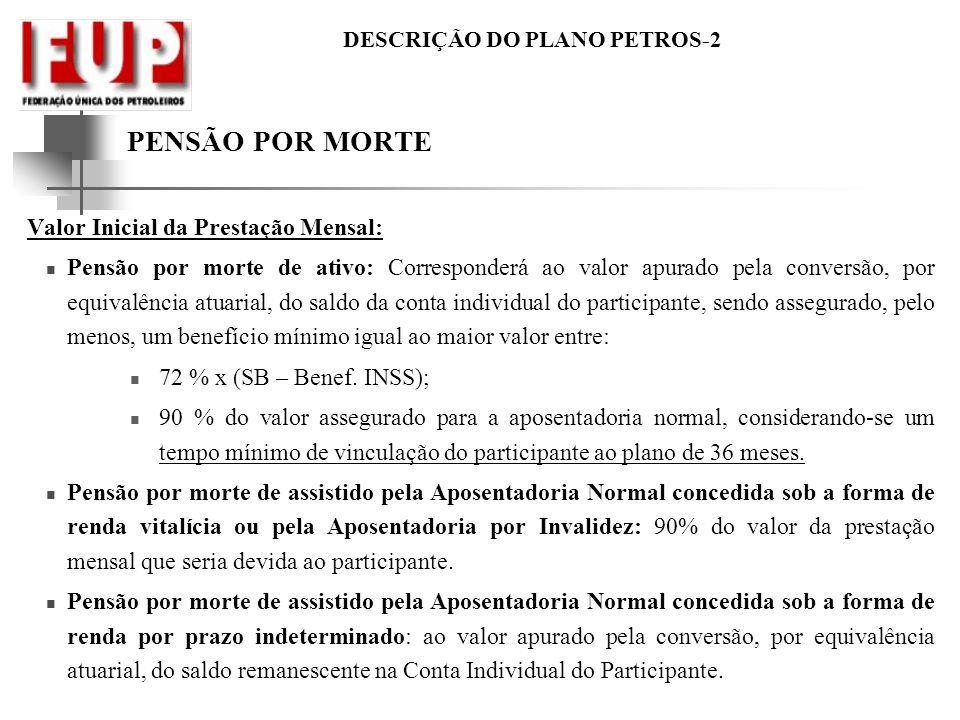 DESCRIÇÃO DO PLANO PETROS-2 PENSÃO POR MORTE Valor Inicial da Prestação Mensal: Pensão por morte de ativo: Corresponderá ao valor apurado pela convers