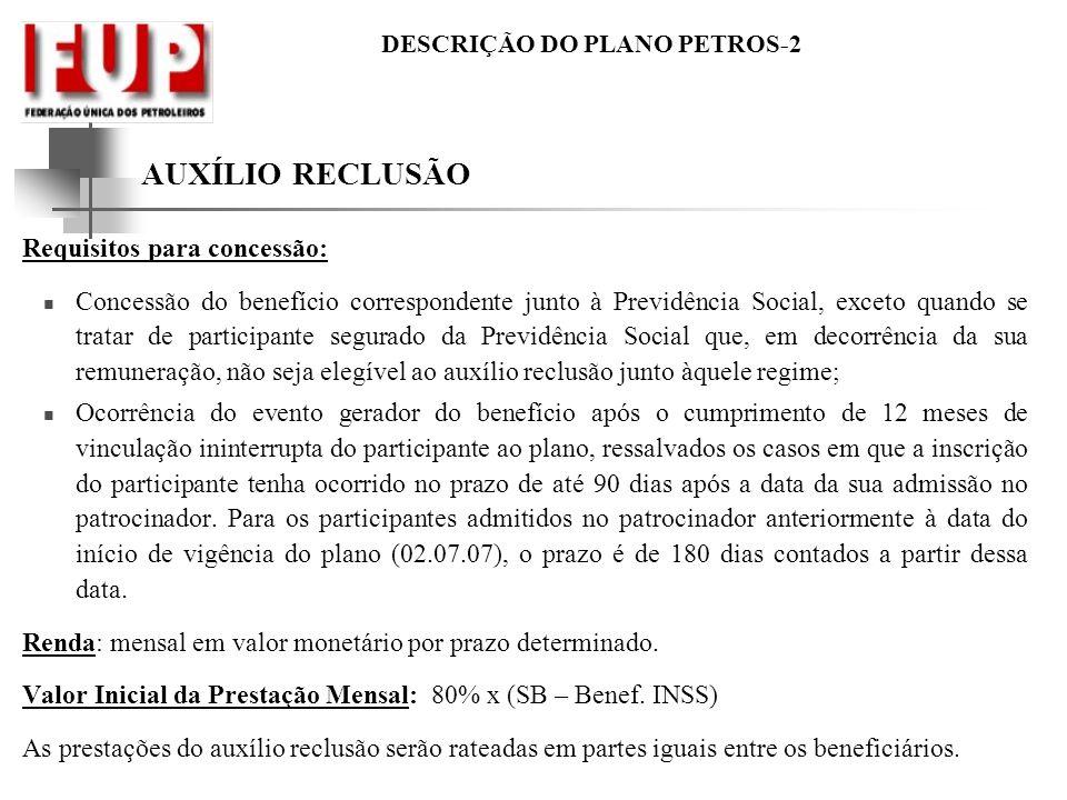 DESCRIÇÃO DO PLANO PETROS-2 AUXÍLIO RECLUSÃO Requisitos para concessão: Concessão do benefício correspondente junto à Previdência Social, exceto quand