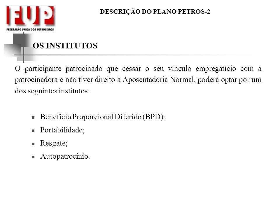 DESCRIÇÃO DO PLANO PETROS-2 OS INSTITUTOS O participante patrocinado que cessar o seu vínculo empregatício com a patrocinadora e não tiver direito à A