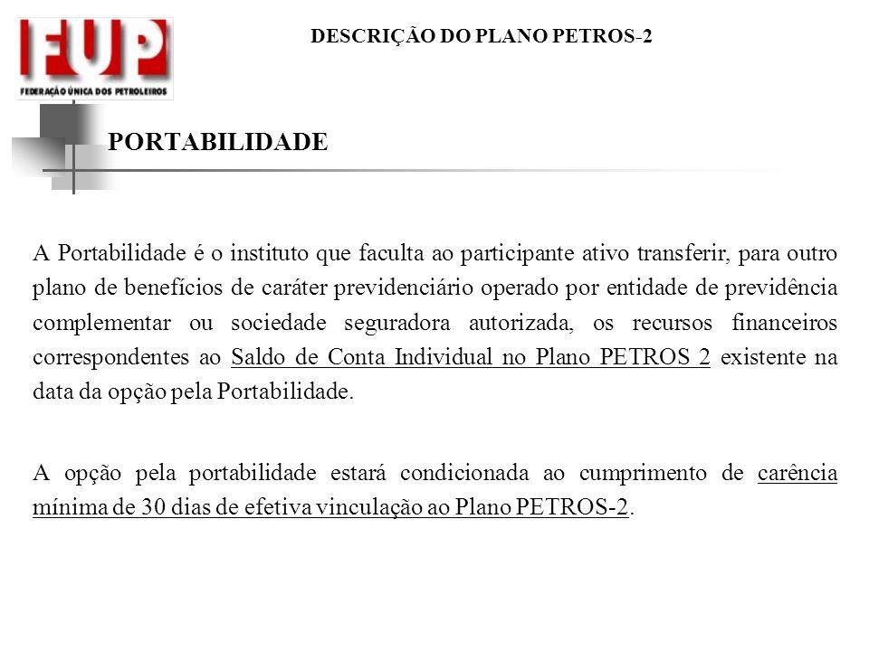DESCRIÇÃO DO PLANO PETROS-2 PORTABILIDADE A Portabilidade é o instituto que faculta ao participante ativo transferir, para outro plano de benefícios d