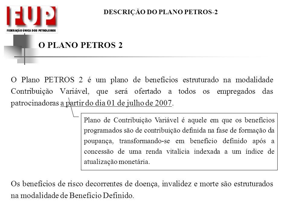 DESCRIÇÃO DO PLANO PETROS-2 O PLANO PETROS 2 O Plano PETROS 2 é um plano de benefícios estruturado na modalidade Contribuição Variável, que será ofert