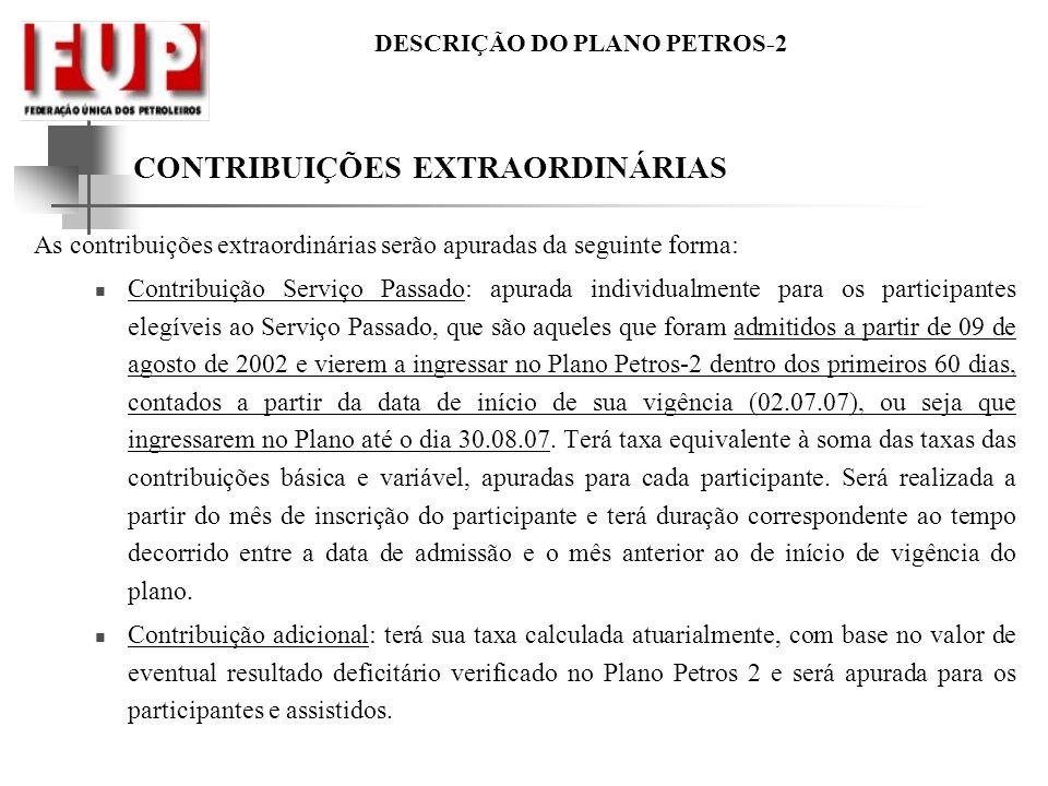 DESCRIÇÃO DO PLANO PETROS-2 CONTRIBUIÇÕES EXTRAORDINÁRIAS As contribuições extraordinárias serão apuradas da seguinte forma: Contribuição Serviço Pass