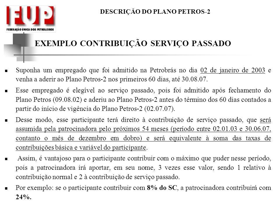 DESCRIÇÃO DO PLANO PETROS-2 EXEMPLO CONTRIBUIÇÃO SERVIÇO PASSADO Suponha um empregado que foi admitido na Petrobrás no dia 02 de janeiro de 2003 e ven