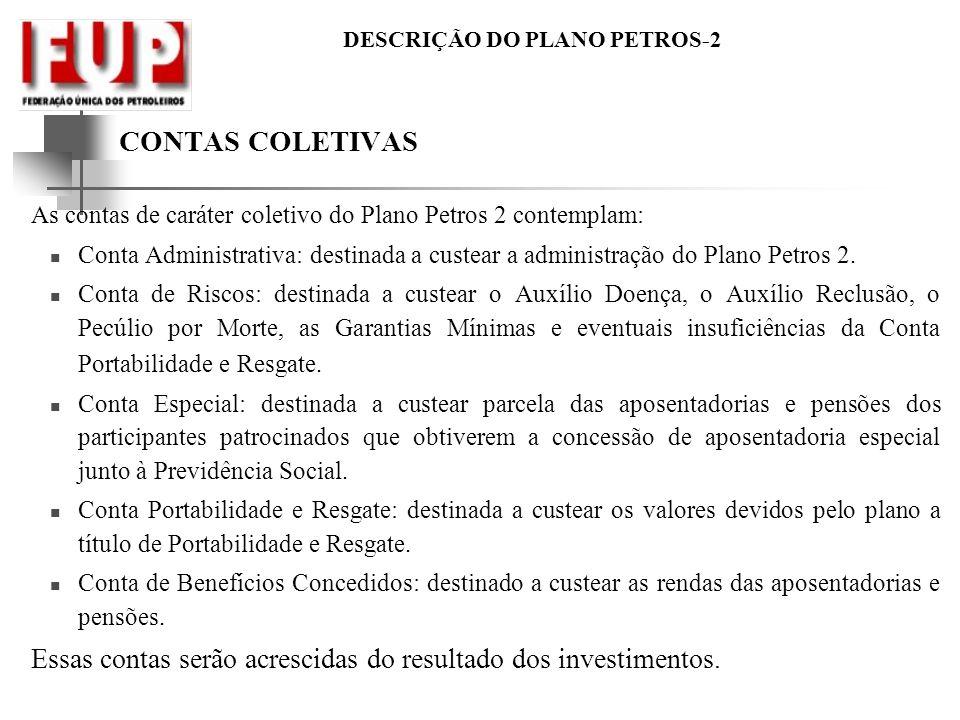 DESCRIÇÃO DO PLANO PETROS-2 CONTAS COLETIVAS As contas de caráter coletivo do Plano Petros 2 contemplam: Conta Administrativa: destinada a custear a a