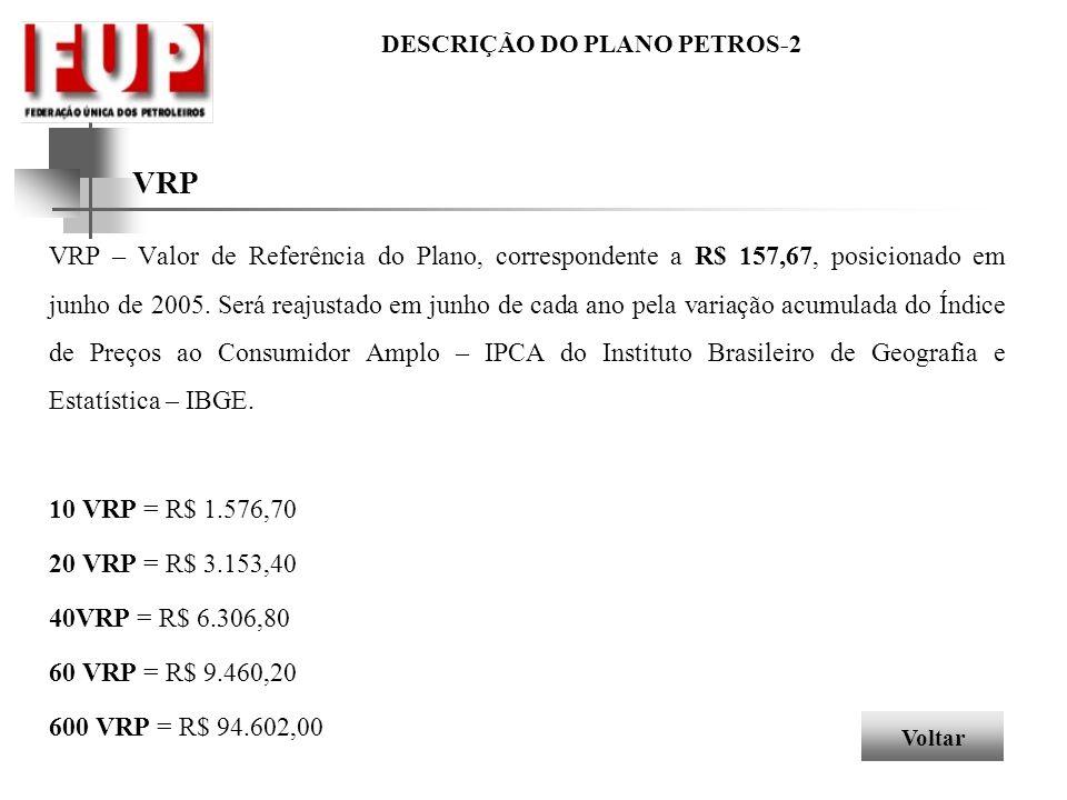 DESCRIÇÃO DO PLANO PETROS-2 VRP VRP – Valor de Referência do Plano, correspondente a R$ 157,67, posicionado em junho de 2005. Será reajustado em junho