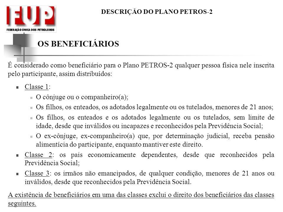 DESCRIÇÃO DO PLANO PETROS-2 OS BENEFICIÁRIOS É considerado como beneficiário para o Plano PETROS-2 qualquer pessoa física nele inscrita pelo participa