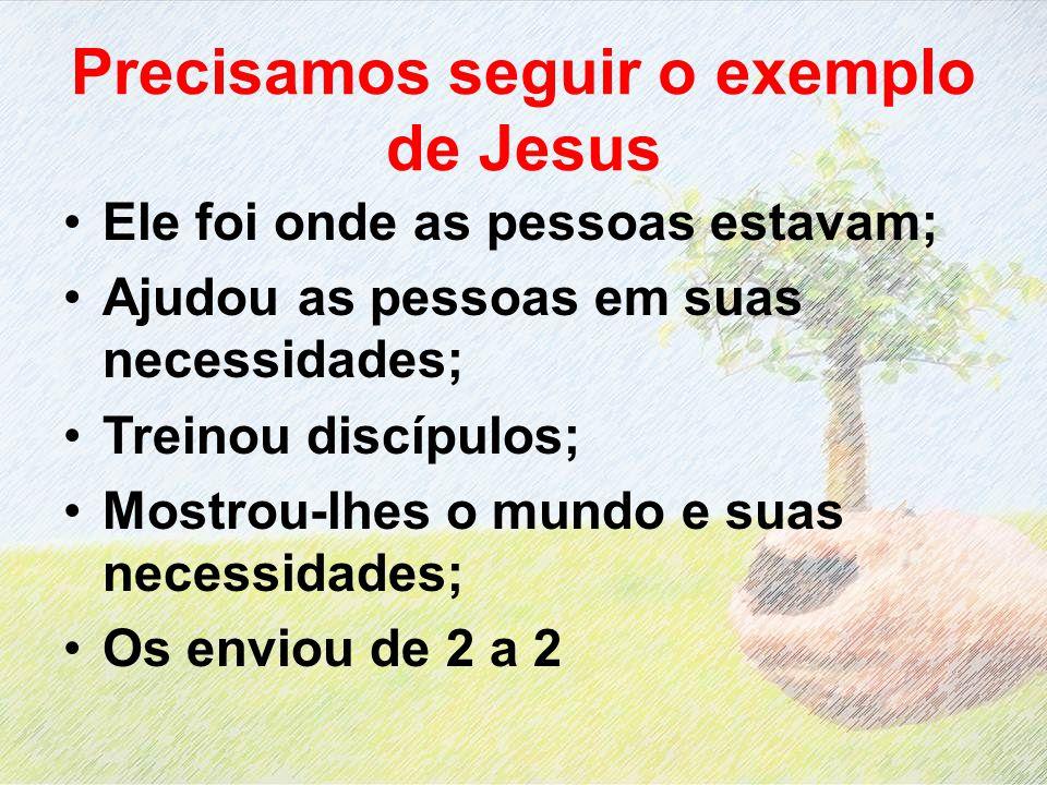 Precisamos seguir o exemplo de Jesus Ele foi onde as pessoas estavam; Ajudou as pessoas em suas necessidades; Treinou discípulos; Mostrou-lhes o mundo