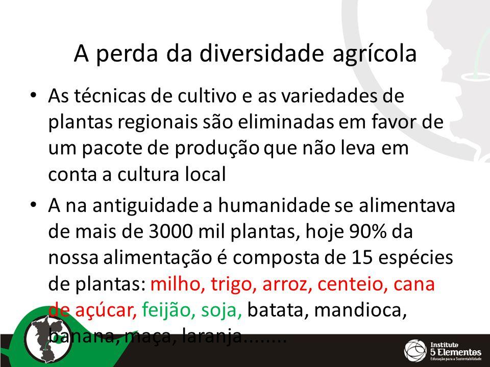 A perda da diversidade agrícola As técnicas de cultivo e as variedades de plantas regionais são eliminadas em favor de um pacote de produção que não l