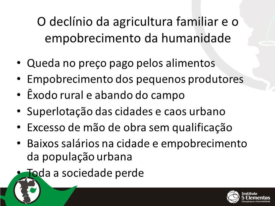 O declínio da agricultura familiar e o empobrecimento da humanidade Queda no preço pago pelos alimentos Empobrecimento dos pequenos produtores Êxodo r