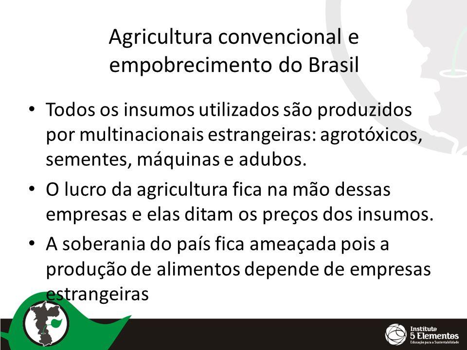 Agricultura convencional e empobrecimento do Brasil Todos os insumos utilizados são produzidos por multinacionais estrangeiras: agrotóxicos, sementes,