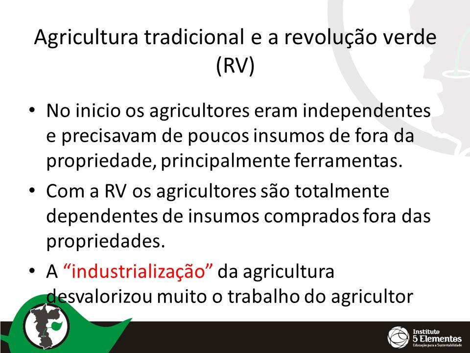 Agricultura tradicional e a revolução verde (RV) No inicio os agricultores eram independentes e precisavam de poucos insumos de fora da propriedade, p