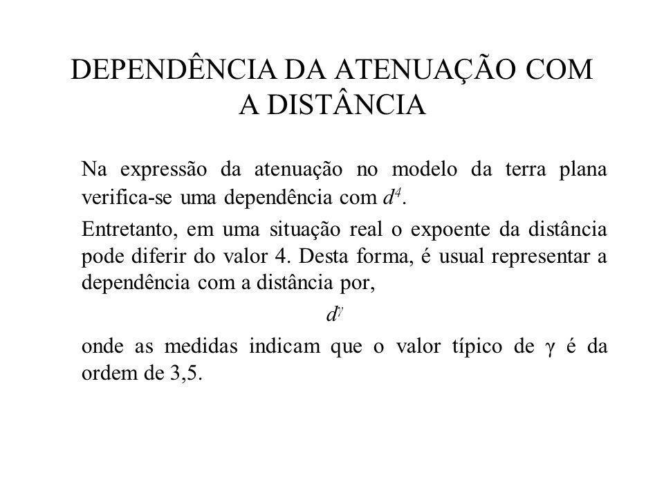 DEPENDÊNCIA DA ATENUAÇÃO COM A DISTÂNCIA Na expressão da atenuação no modelo da terra plana verifica-se uma dependência com d 4.