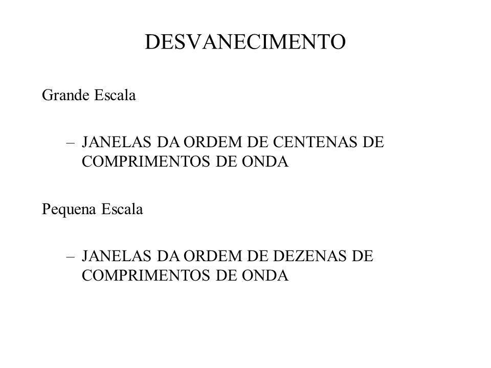 Grande Escala –JANELAS DA ORDEM DE CENTENAS DE COMPRIMENTOS DE ONDA Pequena Escala –JANELAS DA ORDEM DE DEZENAS DE COMPRIMENTOS DE ONDA