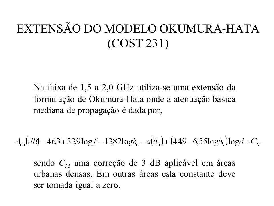 EXTENSÃO DO MODELO OKUMURA-HATA (COST 231) Na faixa de 1,5 a 2,0 GHz utiliza-se uma extensão da formulação de Okumura-Hata onde a atenuação básica mediana de propagação é dada por, sendo C M uma correção de 3 dB aplicável em áreas urbanas densas.