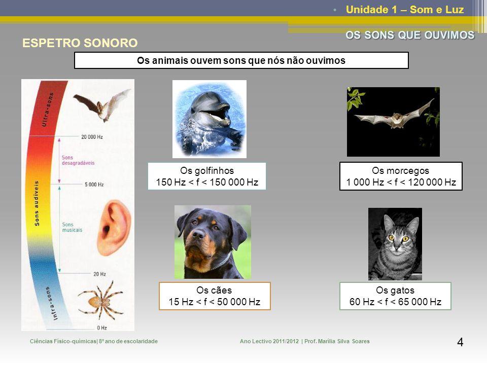 Unidade 1 – Som e Luz Ciências Físico-químicas| 8º ano de escolaridadeAno Lectivo 2011/2012 | Prof. Marília Silva Soares 3 ESPETRO SONORO Gama de freq