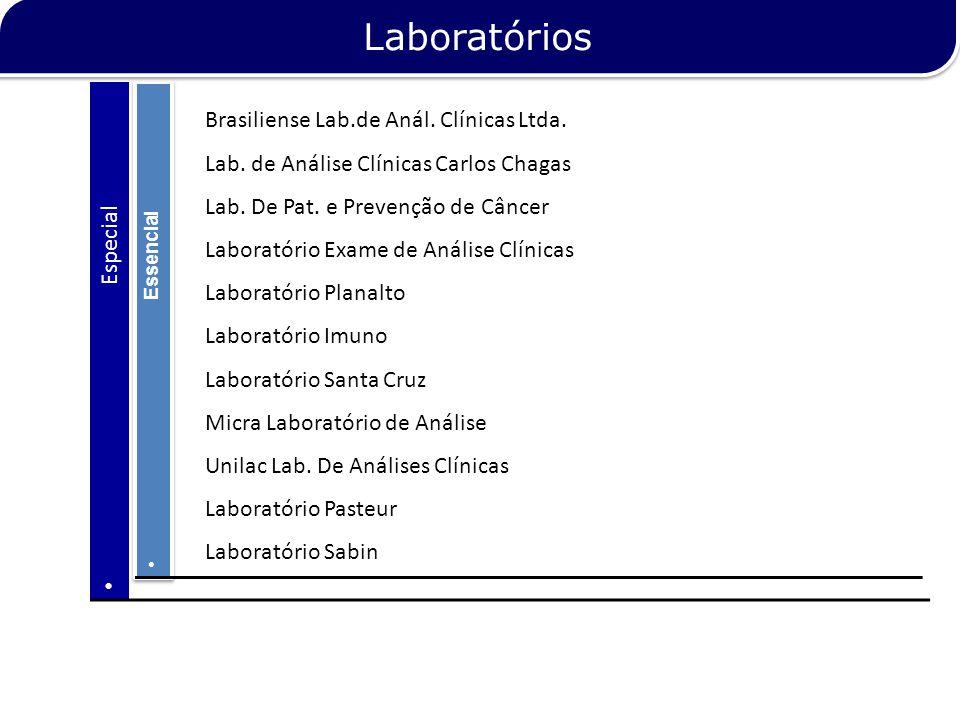 Essencial Especial Brasiliense Lab.de Anál. Clínicas Ltda. Lab. de Análise Clínicas Carlos Chagas Lab. De Pat. e Prevenção de Câncer Laboratório Exame
