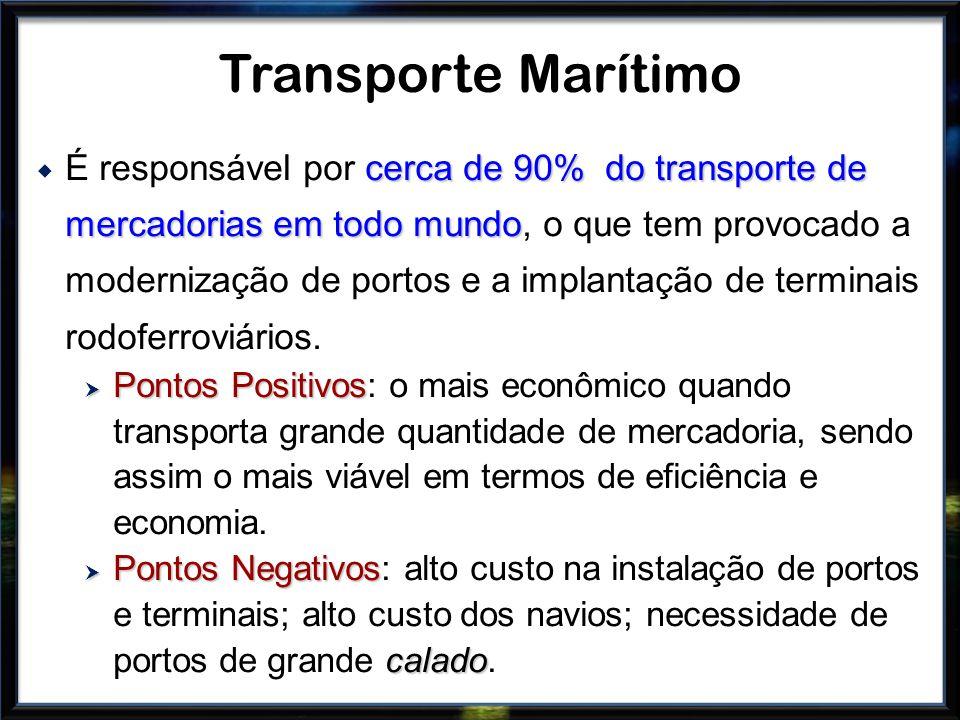 cerca de 90% do transporte de mercadorias em todo mundo É responsável por cerca de 90% do transporte de mercadorias em todo mundo, o que tem provocado