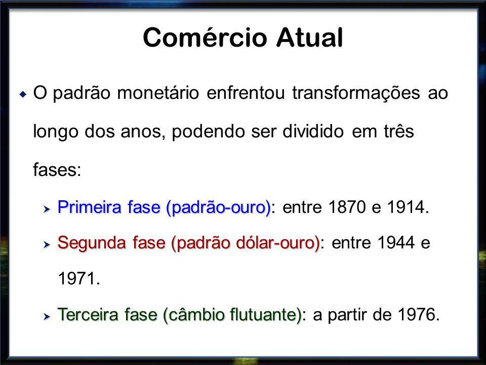 O padrão monetário enfrentou transformações ao longo dos anos, podendo ser dividido em três fases: Primeira fase (padrão-ouro) Primeira fase (padrão-o