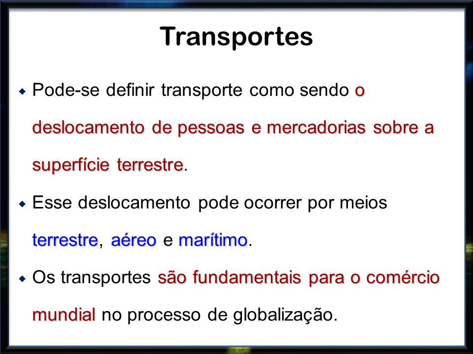 o deslocamento de pessoas e mercadorias sobre a superfície terrestre Pode-se definir transporte como sendo o deslocamento de pessoas e mercadorias sob