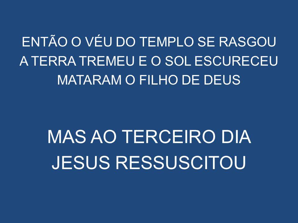 ENTÃO O VÉU DO TEMPLO SE RASGOU A TERRA TREMEU E O SOL ESCURECEU MATARAM O FILHO DE DEUS MAS AO TERCEIRO DIA JESUS RESSUSCITOU