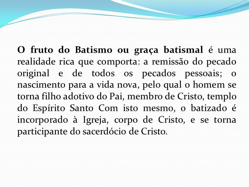 O fruto do Batismo ou graça batismal é uma realidade rica que comporta: a remissão do pecado original e de todos os pecados pessoais; o nascimento par