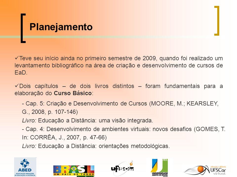 Planejamento Teve seu início ainda no primeiro semestre de 2009, quando foi realizado um levantamento bibliográfico na área de criação e desenvolvimento de cursos de EaD.