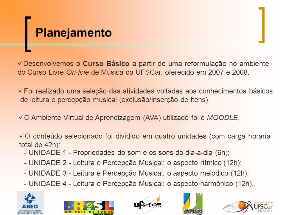 Planejamento Desenvolvemos o Curso Básico a partir de uma reformulação no ambiente do Curso Livre On-line de Música da UFSCar, oferecido em 2007 e 2008.