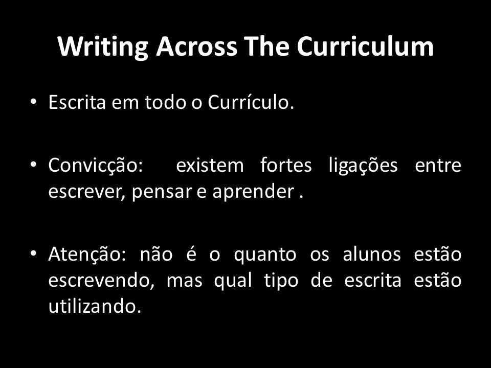Writing Across The Curriculum Escrita em todo o Currículo. Convicção: existem fortes ligações entre escrever, pensar e aprender. Atenção: não é o quan