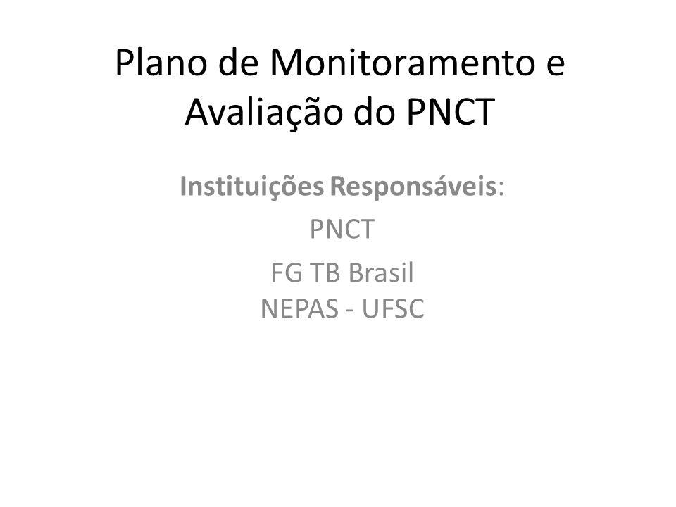 Plano de Monitoramento e Avaliação do PNCT Instituições Responsáveis: PNCT FG TB Brasil NEPAS - UFSC