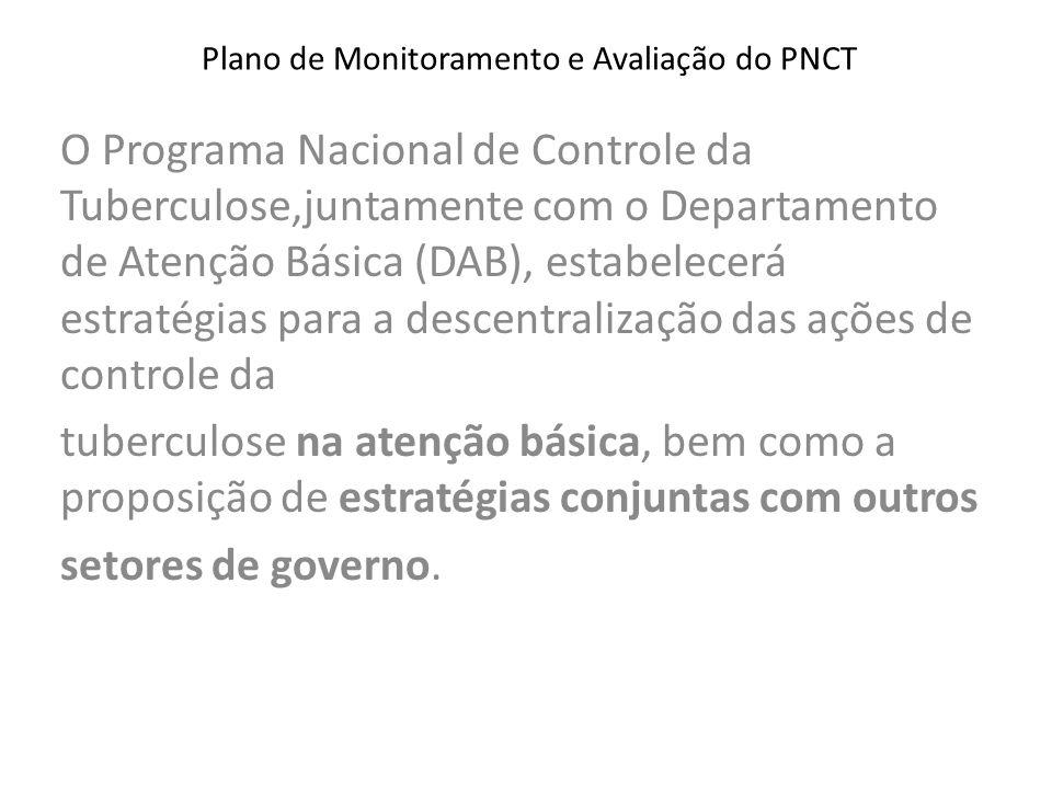 Plano de Monitoramento e Avaliação do PNCT O Programa Nacional de Controle da Tuberculose,juntamente com o Departamento de Atenção Básica (DAB), estab