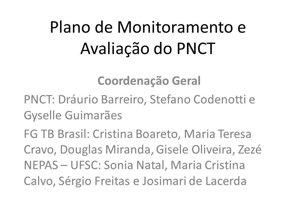 Plano de Monitoramento e Avaliação do PNCT Coordenação Geral PNCT: Dráurio Barreiro, Stefano Codenotti e Gyselle Guimarães FG TB Brasil: Cristina Boar