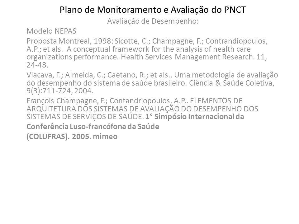 Plano de Monitoramento e Avaliação do PNCT Avaliação de Desempenho: Modelo NEPAS Proposta Montreal, 1998: Sicotte, C.; Champagne, F.; Contrandiopoulos