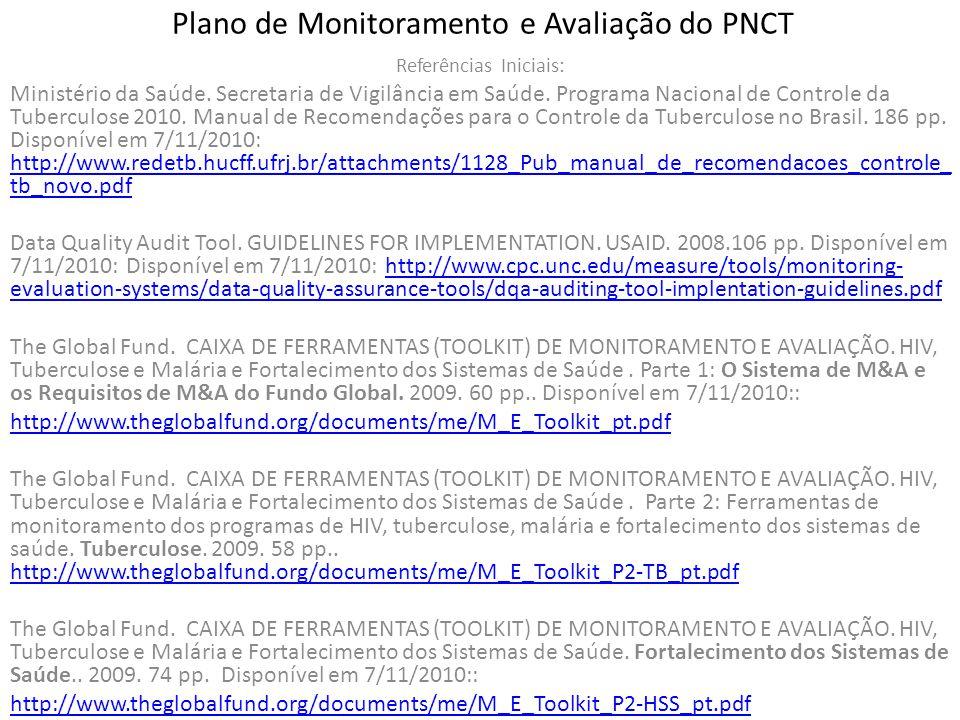 Plano de Monitoramento e Avaliação do PNCT Referências Iniciais: Ministério da Saúde. Secretaria de Vigilância em Saúde. Programa Nacional de Controle