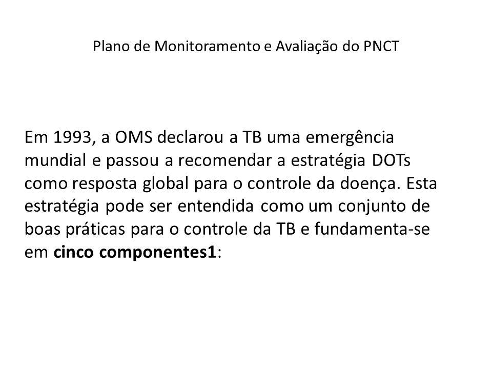 Plano de Monitoramento e Avaliação do PNCT Em 1993, a OMS declarou a TB uma emergência mundial e passou a recomendar a estratégia DOTs como resposta g